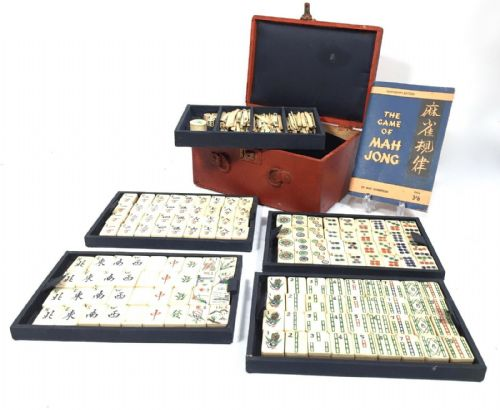 Antique Bone And Bamboo Mahjong / Mah Jong Set / Game In Wooden Box / Complete